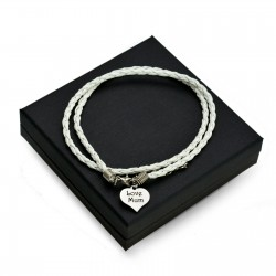 White leather bracalet HEART + BOX