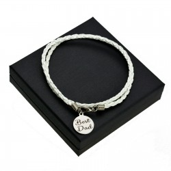 Personalised White leather bracalet ROUND + BOX