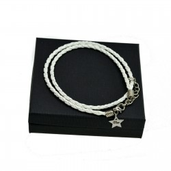 Personalised White leather bracalet STAR + BOX