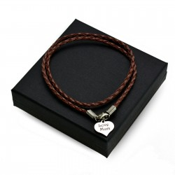 Personalised Brown leather bracalet HEART + BOX