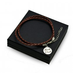Personalised Brown leather bracalet ROUND + BOX