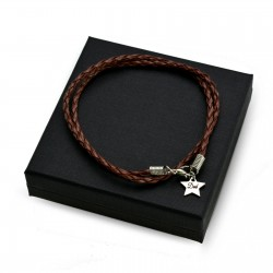 Personalised Brown leather bracalet STAR + BOX