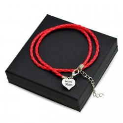 Personalised Red leather bracalet HEART + BOX