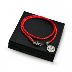 Personalised Red leather bracalet ROUND + BOX