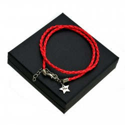 Personalised Red leather bracalet STAR + BOX
