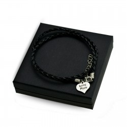 Personalised Black leather bracalet HEART + BOX