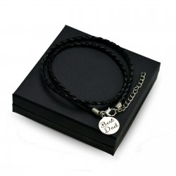 Personalised Black leather bracalet ROUND + BOX