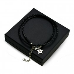 Personalised Black leather bracalet STAR + BOX
