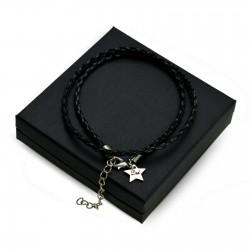 Personalised Black leather bracalet STAR + BOX